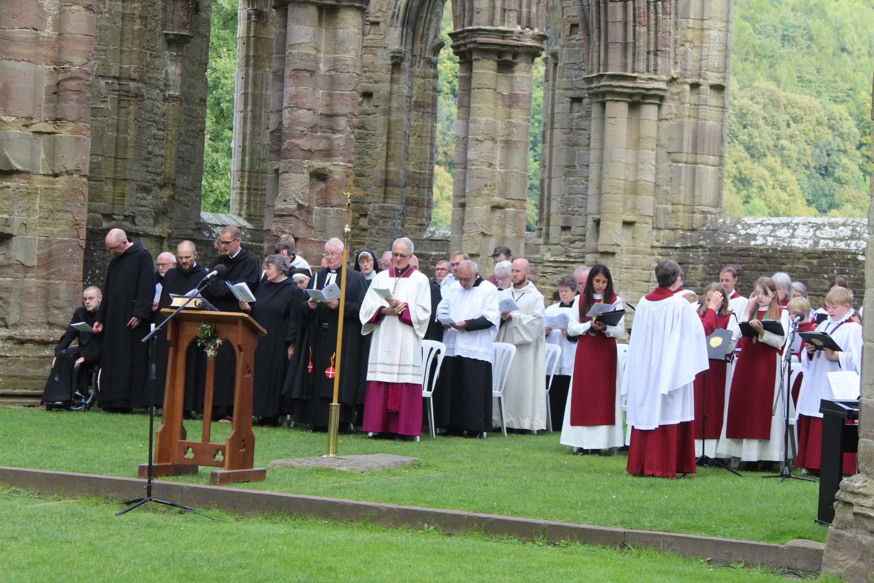 Clergy and choir leading Sung Vespers 2019